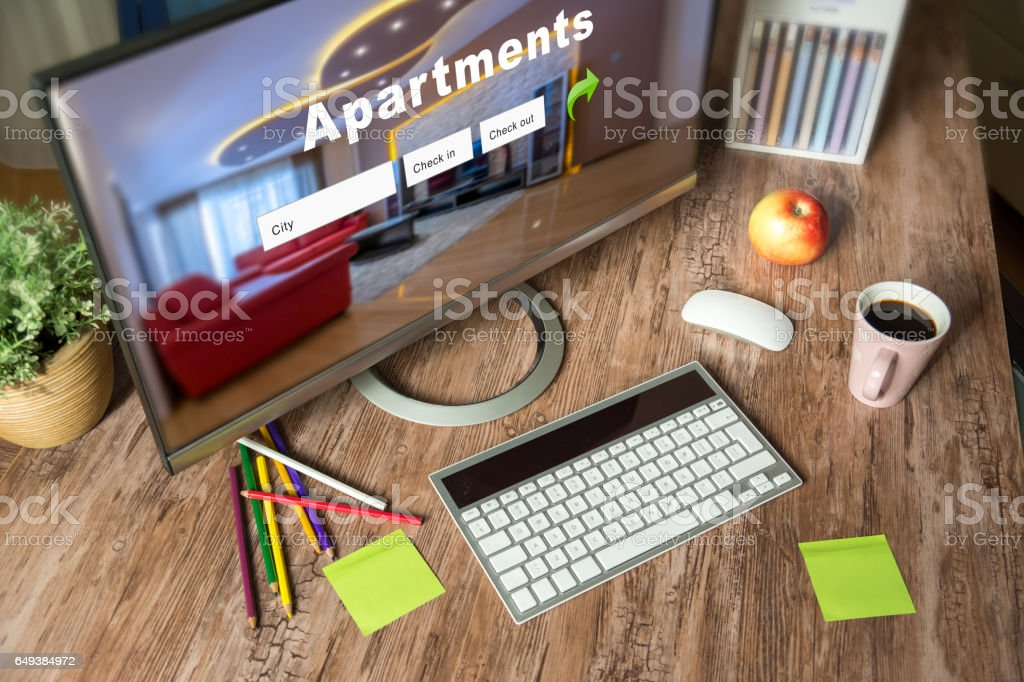 Booking apartment for holiday break stock photo