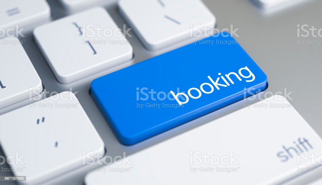 Booking - Caption on Blue Keyboard Button. 3D stock photo