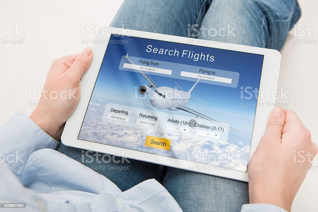 booking flight travel traveler search reservation holiday page stock photo