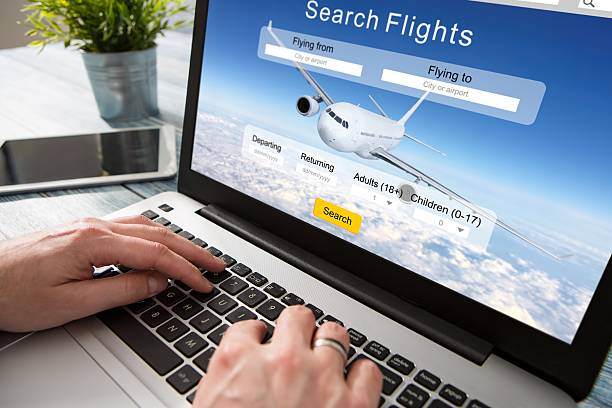 booking flight travel traveler search reservation holiday page - aeroplane ticket stock photos and pictures