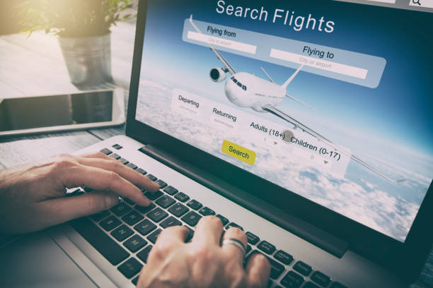 booking flight travel traveler search reservation holiday page - aereo di linea foto e immagini stock
