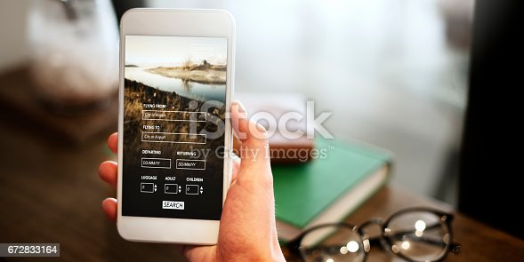 istock Booking Flight Travel Website Concept 672833164