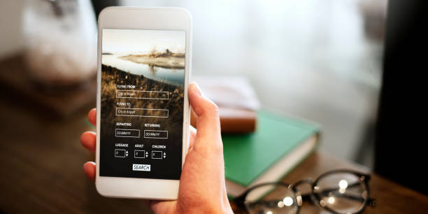 Booking Flight Travel Website Concept - foto de acervo