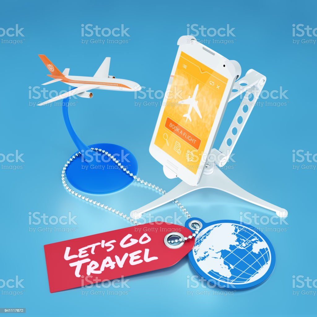 Booking Flight Via Mobile App stock photo