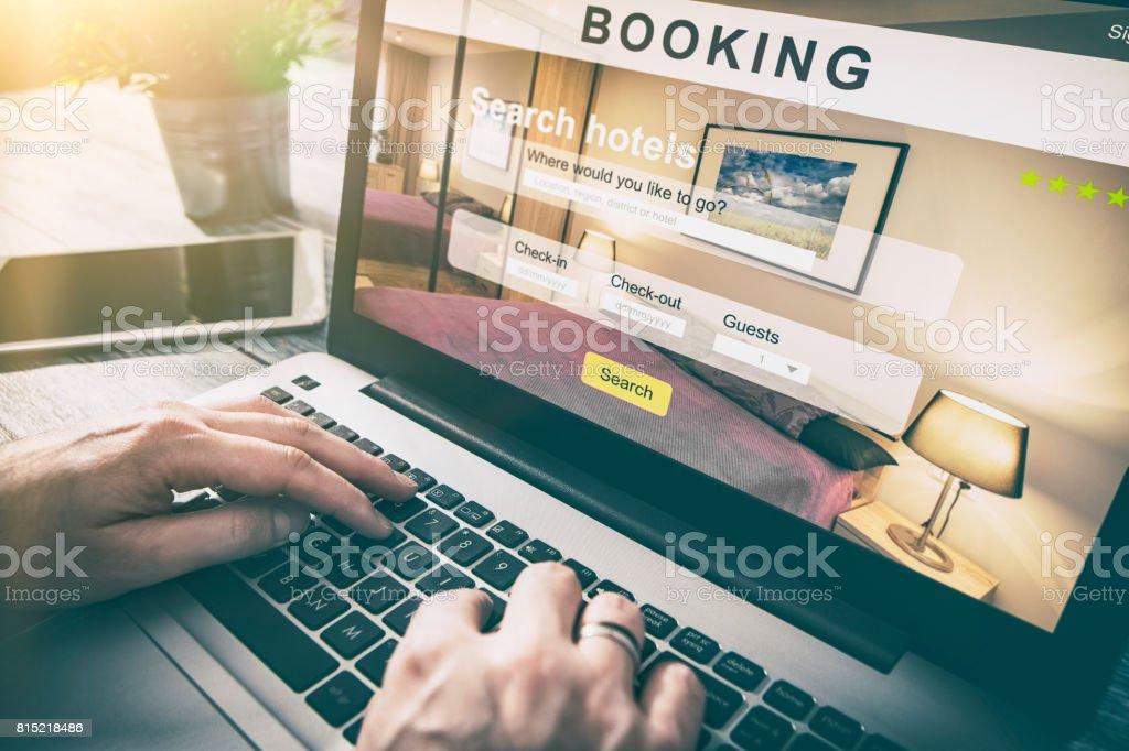 booking hotel travel traveler search business reservation - Foto stock royalty-free di Affari
