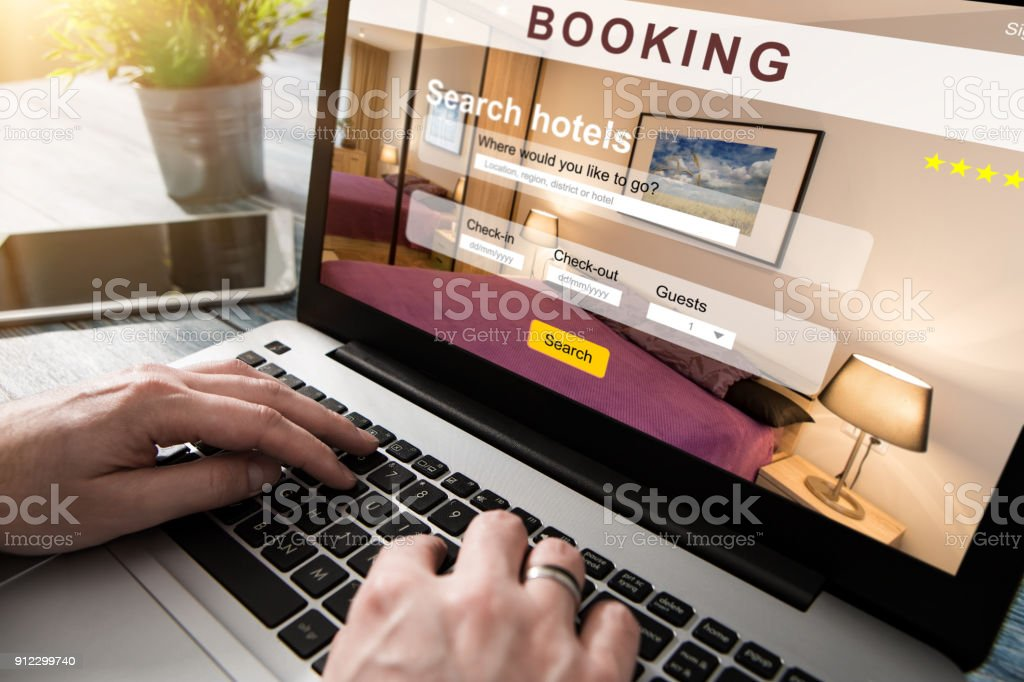 booking hotel travel traveler search business reservation stock photo