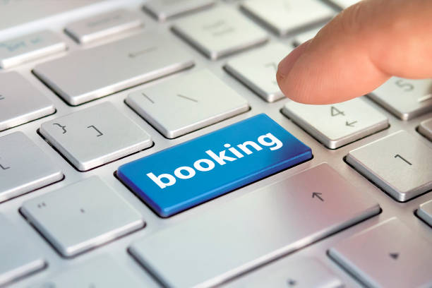 Booking tickets for transport on the Internet. hotel reservation online. flight booking, plane travel fly check, buy website e-ticket, business concept, Buy e-tickets on website. stock photo