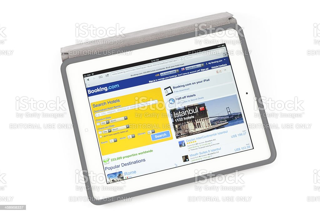 Booking.com on New iPad royalty-free stock photo