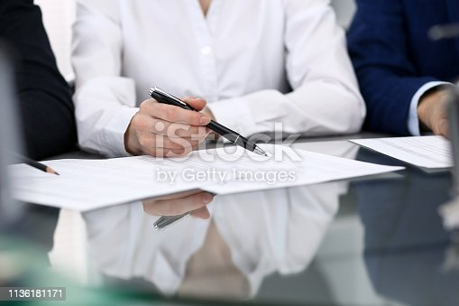 istock Bookkeepers team or financial inspectors  making report, calculating or checking balance. Group of people at work. Business operations concept. 1136181171