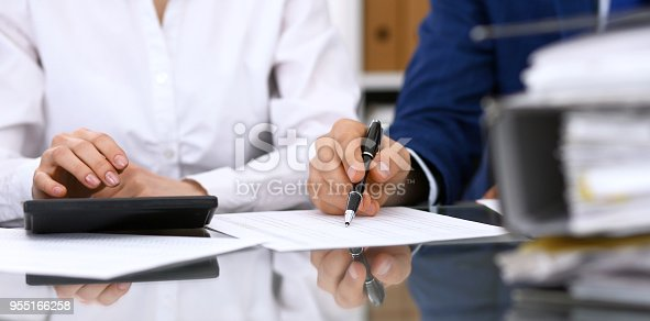 istock Bookkeepers team or financial inspectors  making report, calculating or checking balance. Tax service financial document. Audit concep 955166258