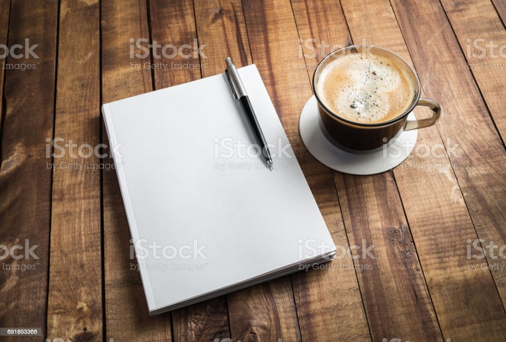 Booklet, pencil and coffee stock photo