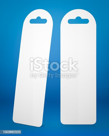 istock Bookmark on blue background. Empty page marker for design. 1003892020