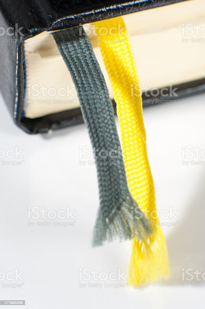Bookmarks in a book stock photo
