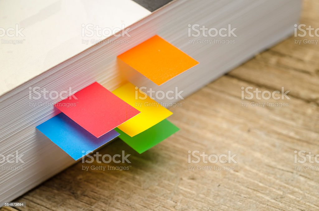 Bookmarks in side of Book stock photo