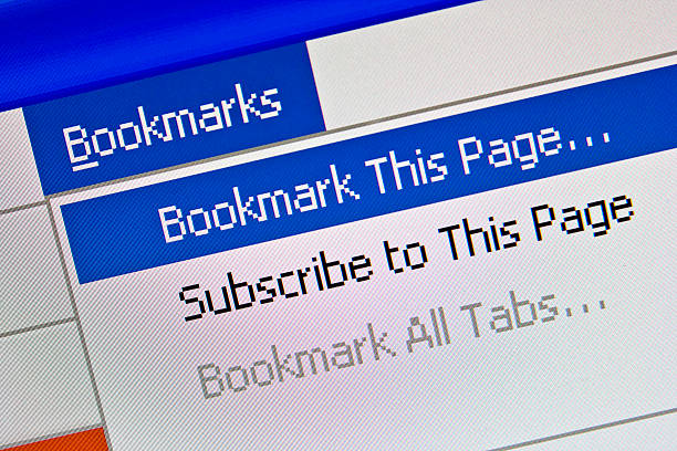 Bookmarks Option Displayed on Computer Monitor stock photo