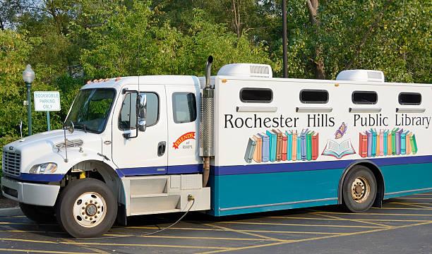 Bookmobile (Mobile Library in Rochester Hills, Michigan) stock photo