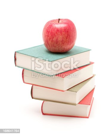 453684295istockphoto Books and Apple isolated on white background 168641764