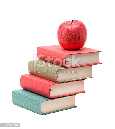 453684295istockphoto Books and Apple isolated on white background 172488762