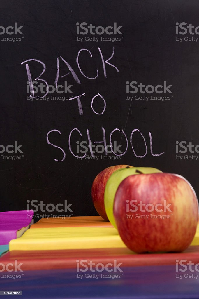 books and apples at school royalty-free stock photo