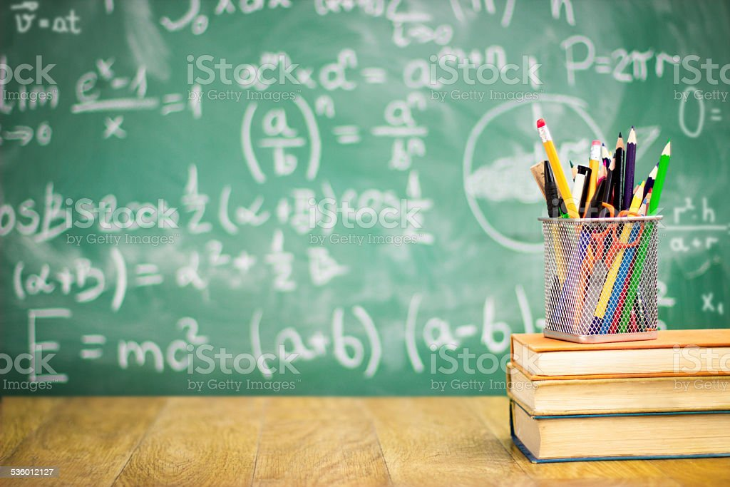 Books and blackboard stock photo