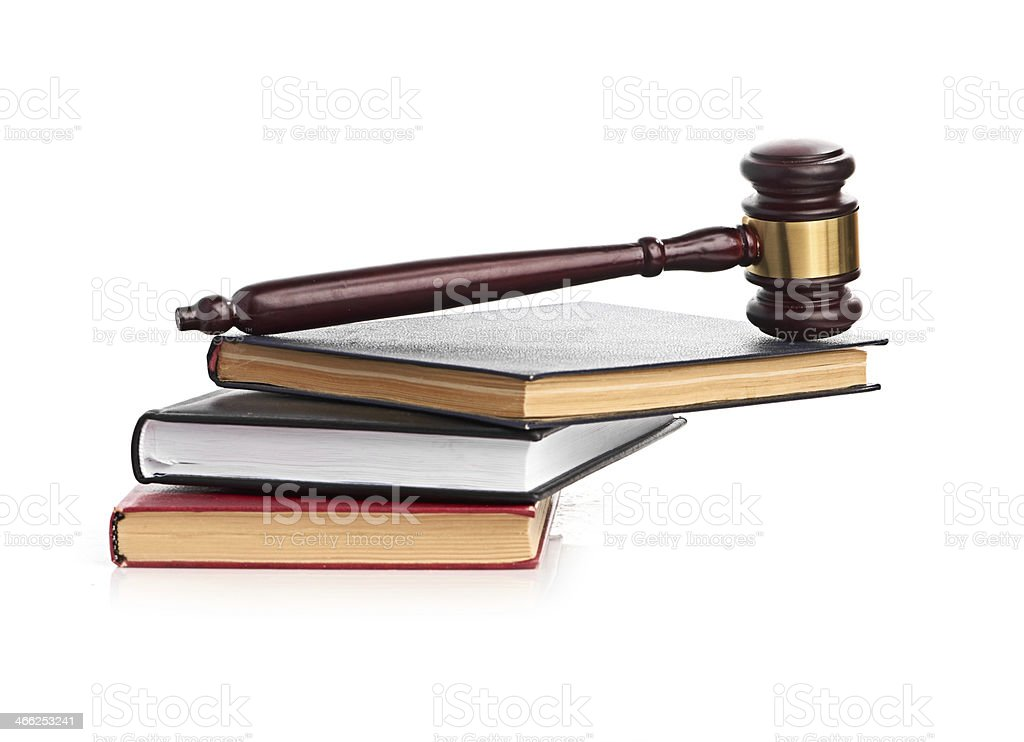 books and gavel studio isolated on white stock photo