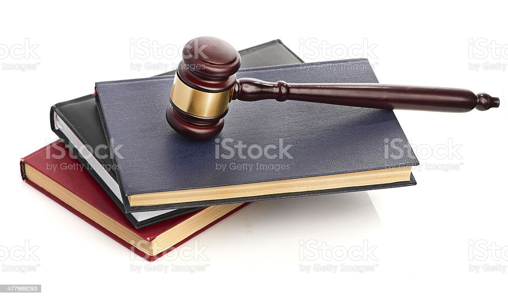 books and gavel studio isolated on white royalty-free stock photo