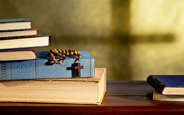 Books And Rosary stock photo