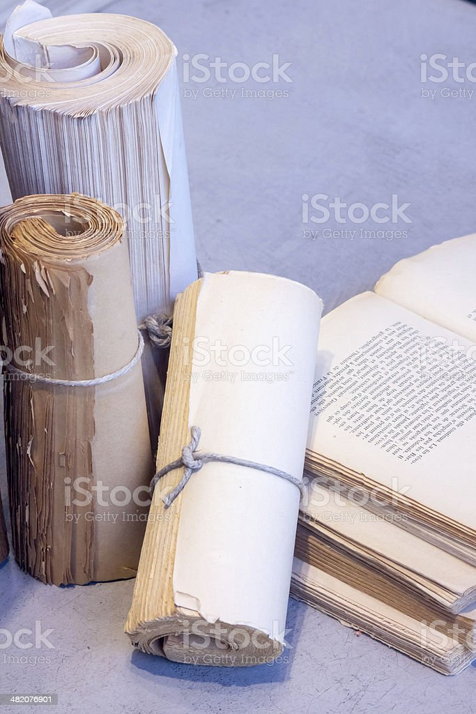 Books and scrolls royalty-free stock photo