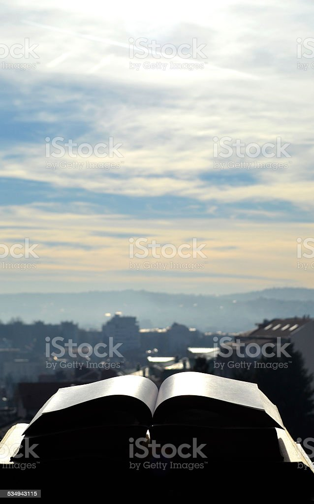 books and sky stock photo