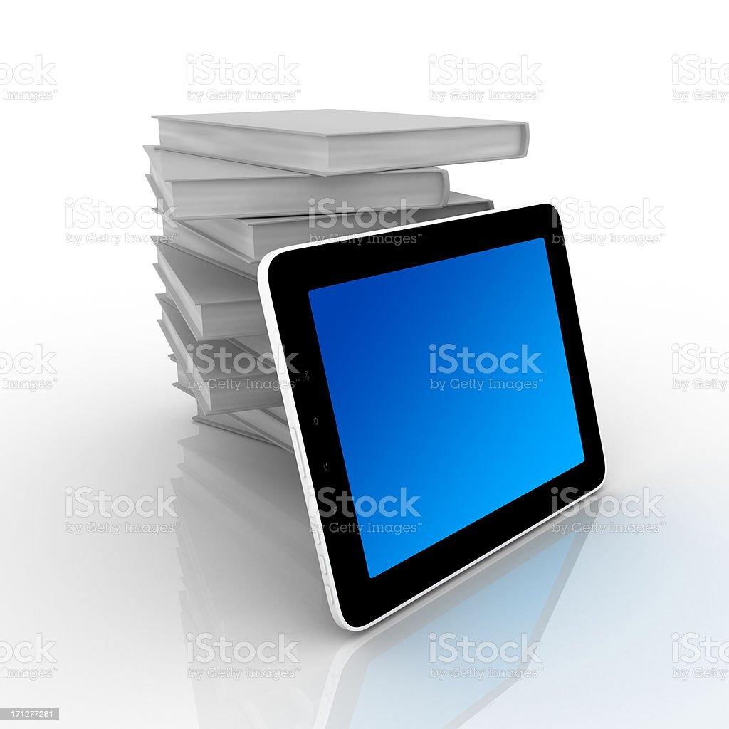Livros e tablet computador - foto de acervo