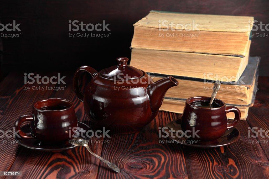 Books and tea stock photo