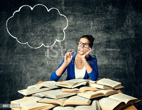 istock Books and Thinking Woman, Student Girl Reading Studying Book, Bubble Idea on Blackboard 685787006