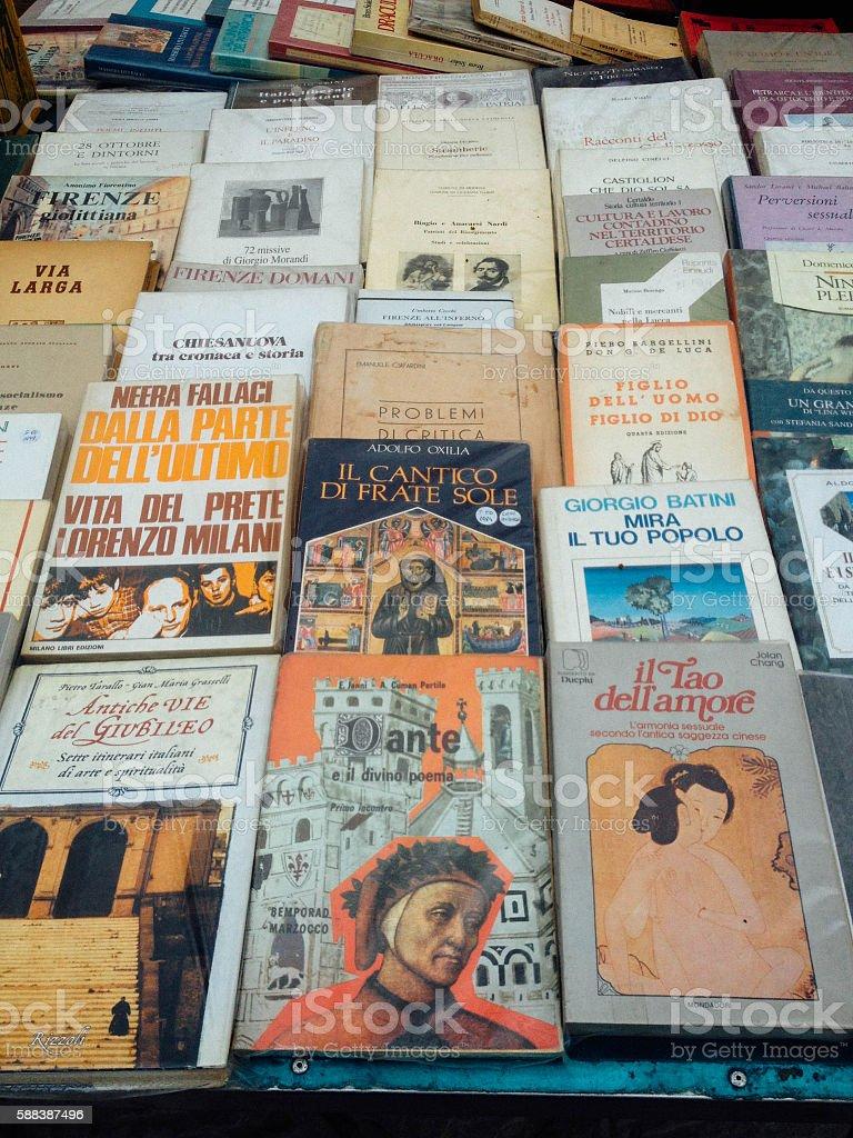 Books at Flea Market in Italy stock photo