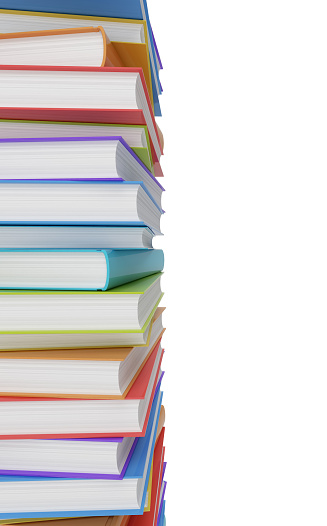 Stack of books, white background