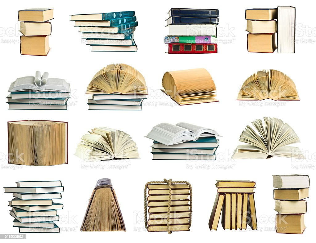 Books collection on a white background stock photo
