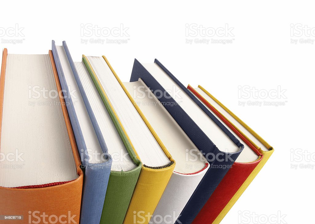 Books different colours in perspective royalty-free stock photo