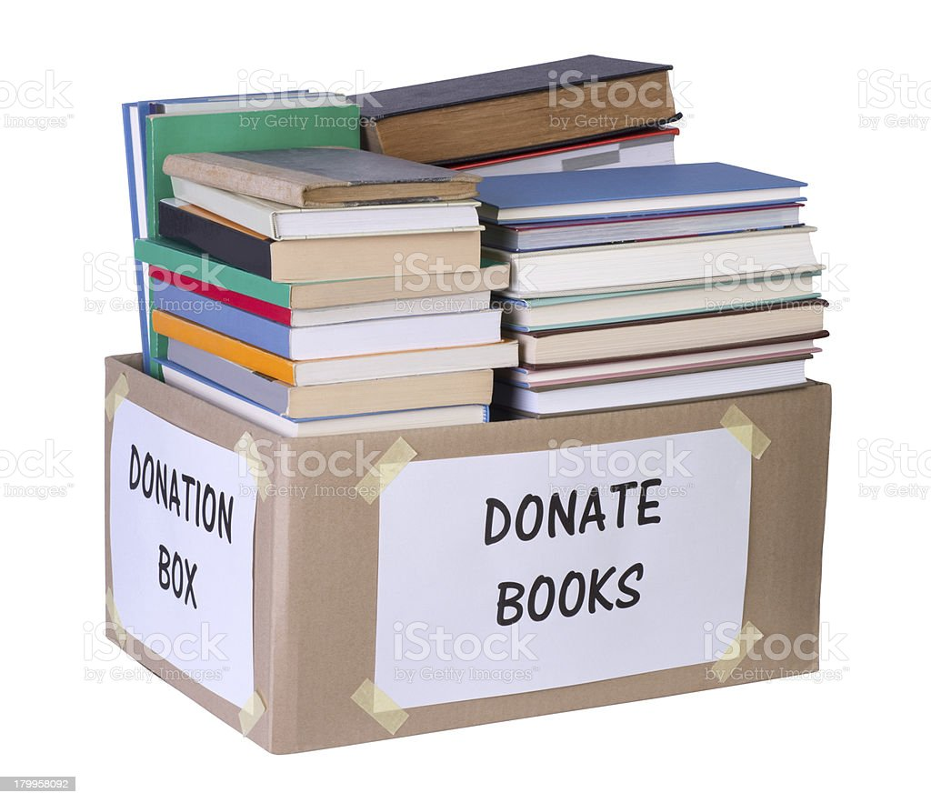 Books donation box stock photo
