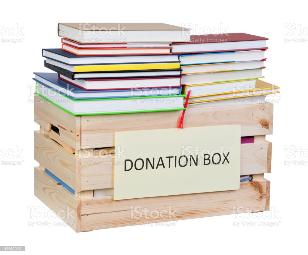 Books donations stock photo