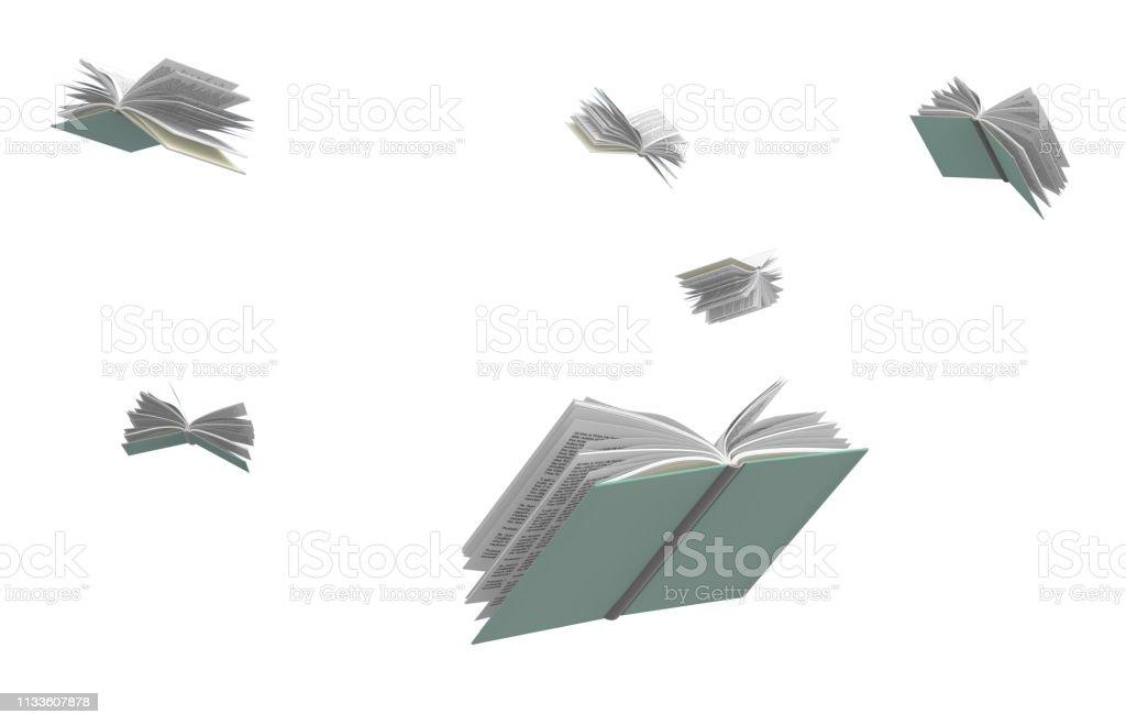 Photo Libre De Droit De Livres Volant Autour Isoles Sur Fond