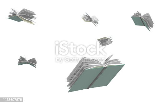 Books flying around, isolated on white background, 3d illustration