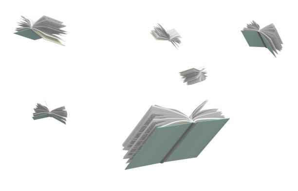 Books flying around, isolated on white background. Books flying around, isolated on white background, 3d illustration flying stock pictures, royalty-free photos & images