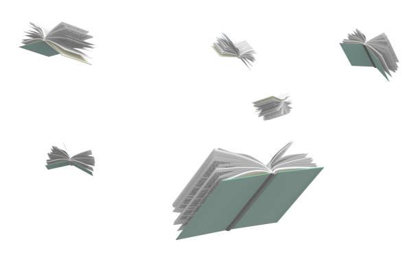 boeken die rondvliegen, geïsoleerd op witte achtergrond. - vliegen stockfoto's en -beelden
