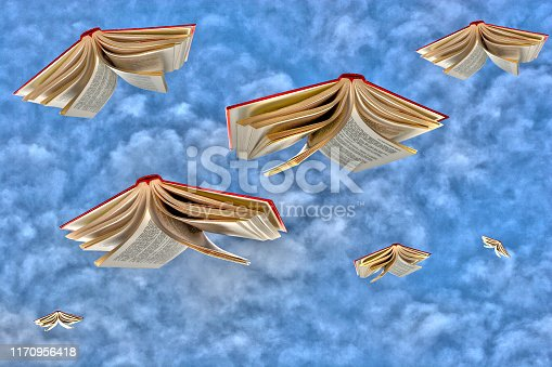 Books Flying Through the Sky
