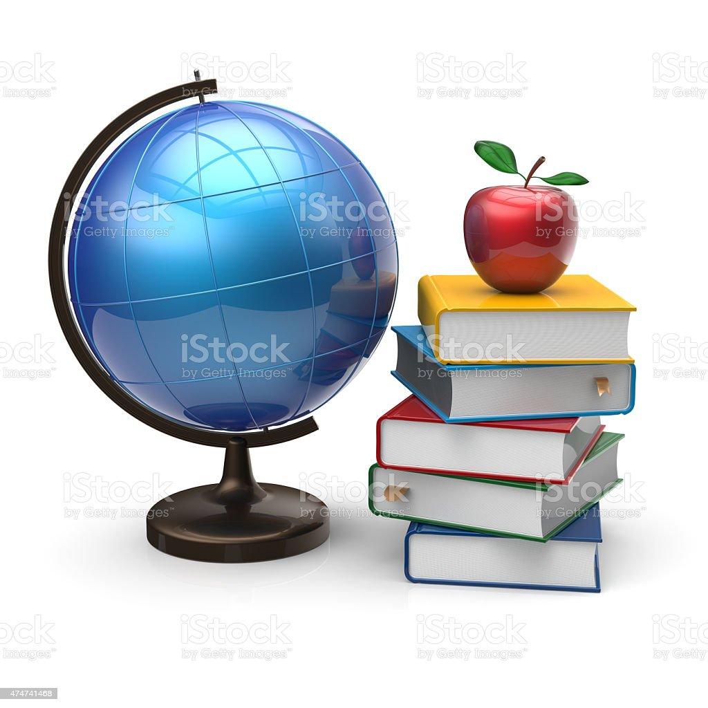 Globo di libri e apple vuoto simbolo di conoscenza dello studio - foto stock