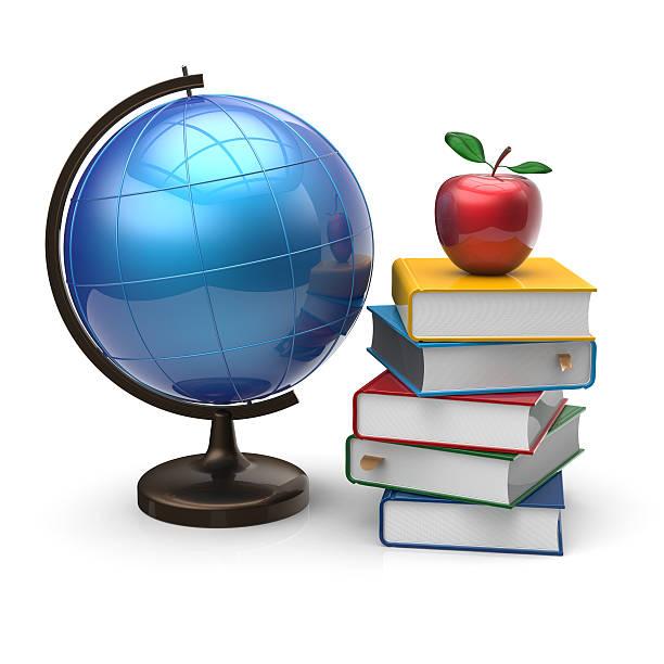 Książek, globe i apple puste badania wiedzy symbol – zdjęcie