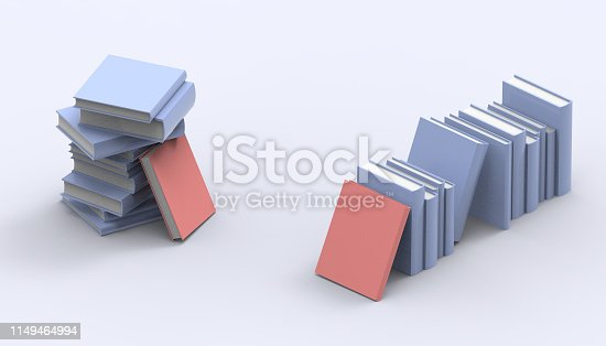 480762174istockphoto Books Groups   Blue and Red Isometric standing minimal and Modern Art   pastel Blue on background and - 3D rendering 1149464994