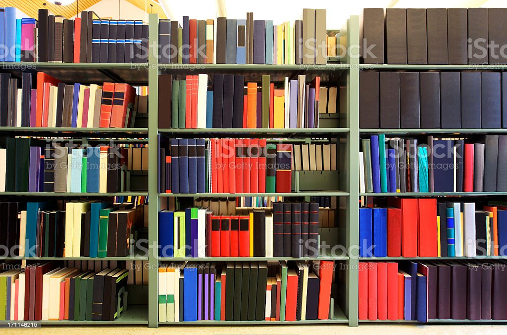 Books in a college library royalty-free stock photo