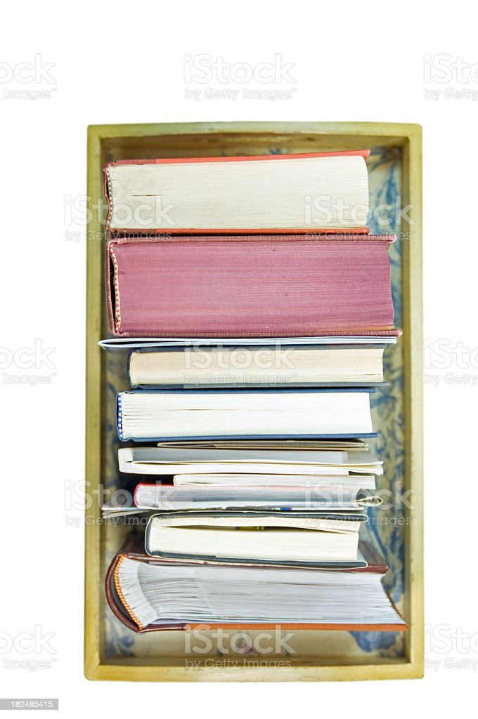 Books in a tray royalty-free stock photo