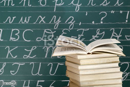 istock Books in front of a Blackboard 173003411