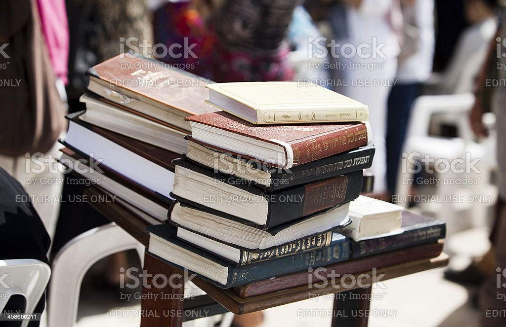 Books in front of The Western Wall royalty-free stock photo